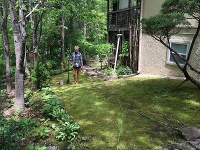 Rachelle Siegrist in her yard