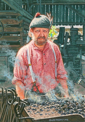 Painting of a blacksmith by Wes Siegrist