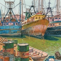 Painting of old shrimp boats by Wes Siegrist