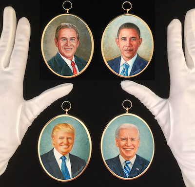Presidential portrait miniatures by Wes and Rachelle Siegrist