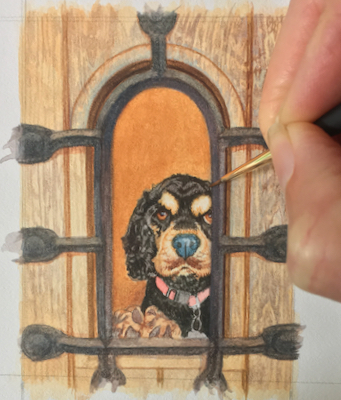 A commissioned dog painting by Rachelle Siegrist in progress