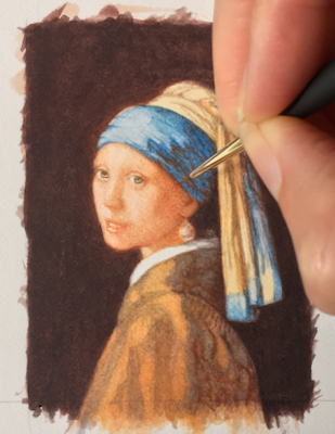 Girl with a Pearl Earring by Rachelle Siegrist after Vermeer