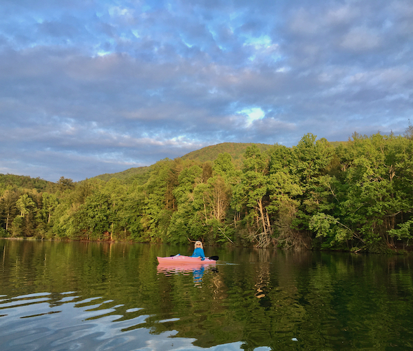 Rachelle Siegrist at the lake in her kayak