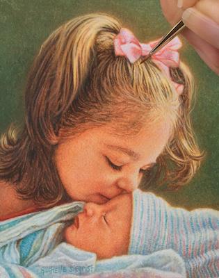 Rachelle Siegrist painting children's portraits