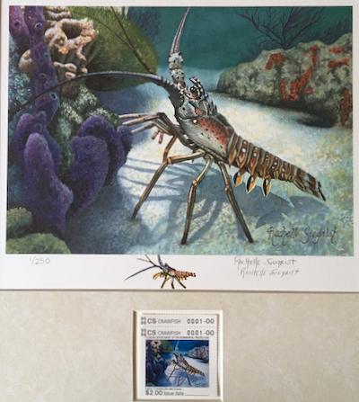 Florida Crawfish stamp by Rachelle Siegrist