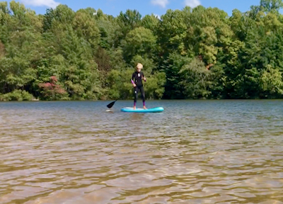 Rachelle Siegrist on a paddle board