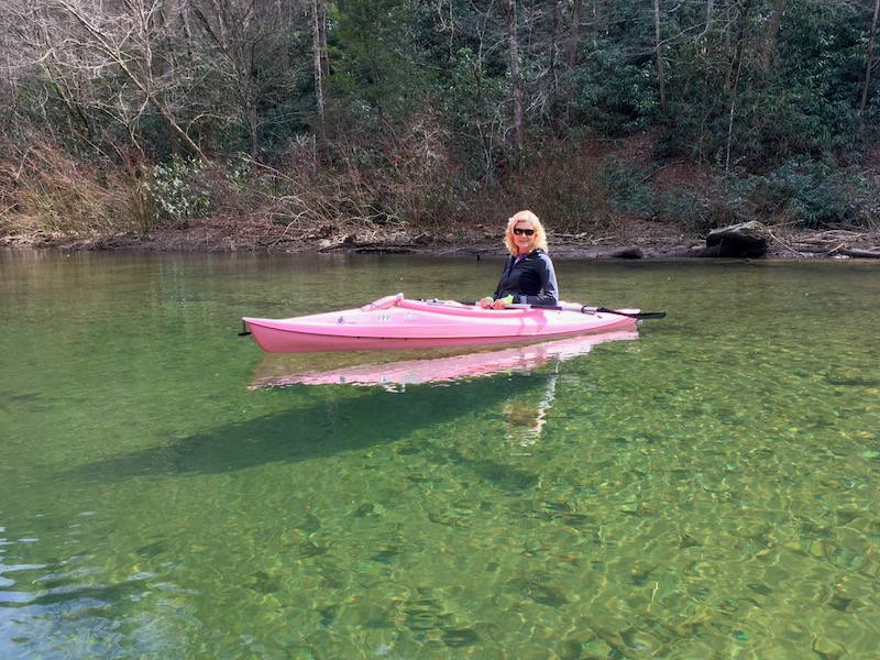 Rachelle Siegrist kayaking in Tennessee