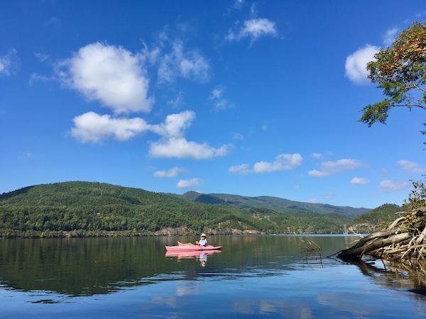 Rachelle in her pink kayak