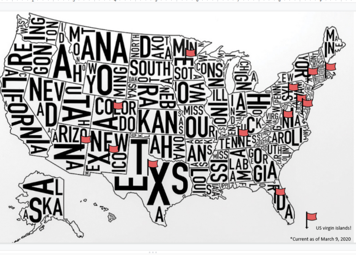 Image depicting e4usa schools across the nation by flags on a map