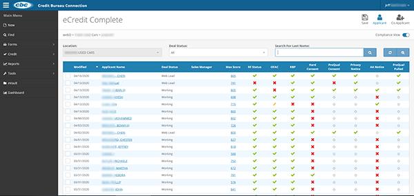 eCredit Complete Find Screen