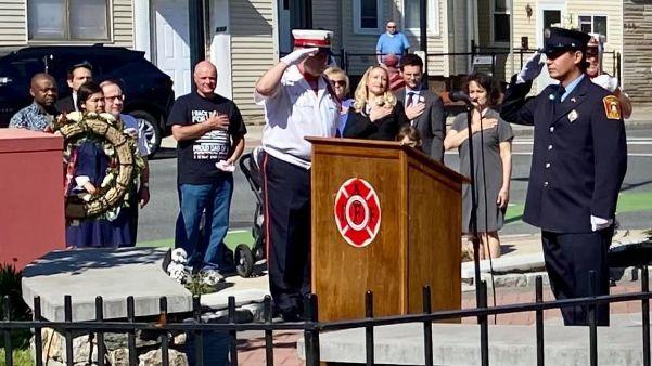 Honoring Massachusetts' firefighters at the Somerville Firefighter Department Memorial.
