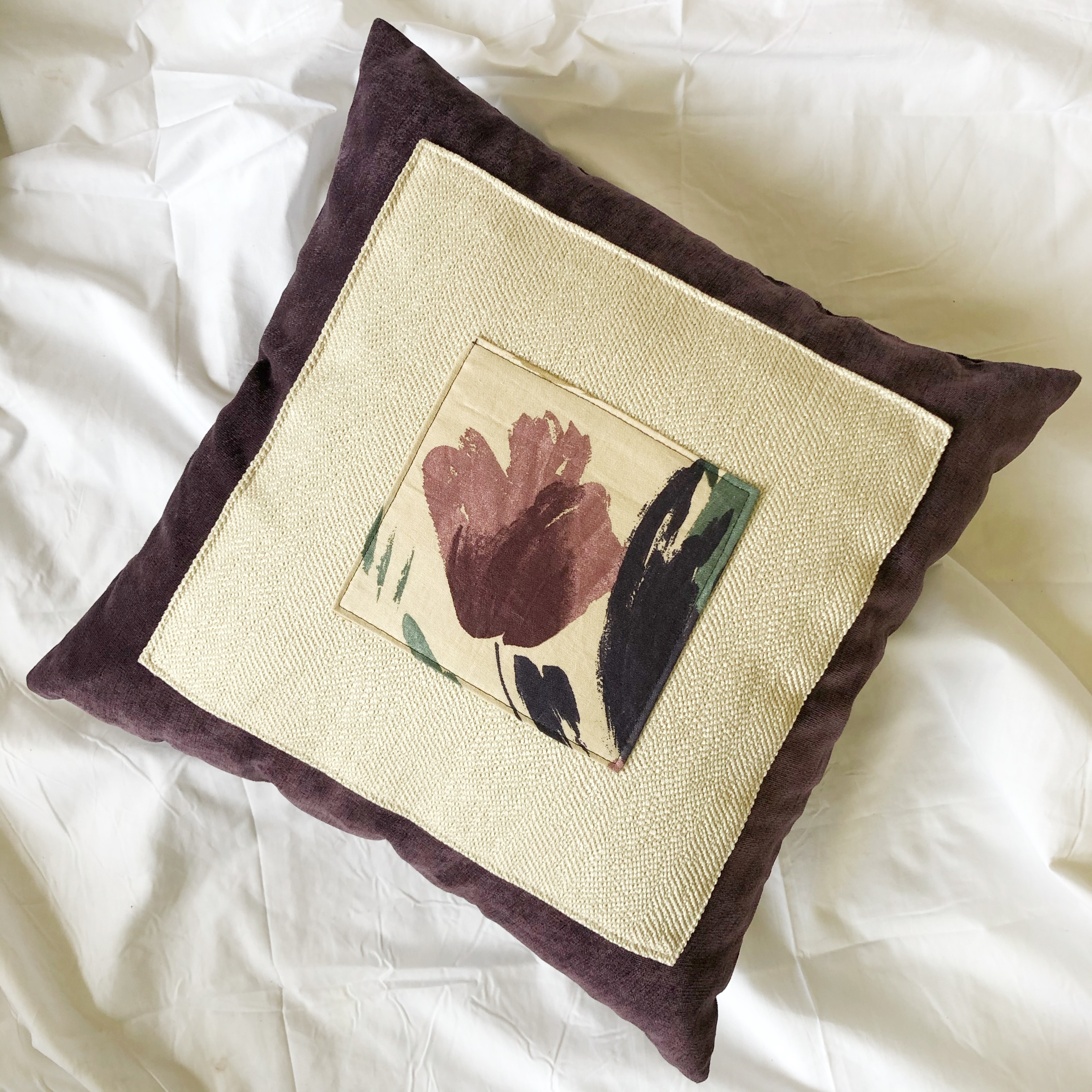 Squared Throw Pillow w/Colorblocking (17 x 17)