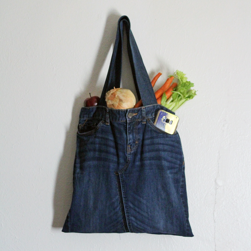 The Zoey, Our Denim Jean Farmers Market Tote Bag (Made with Repurposed Denim)