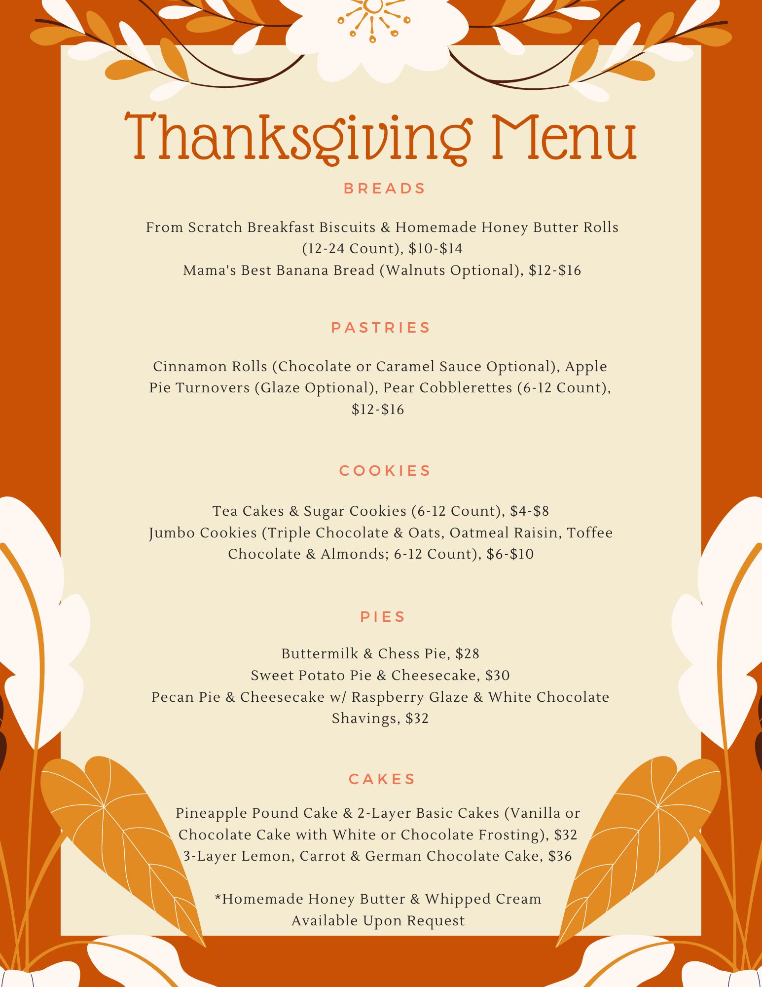 Zo's Baked Goods Thanksgiving Dessert Menu