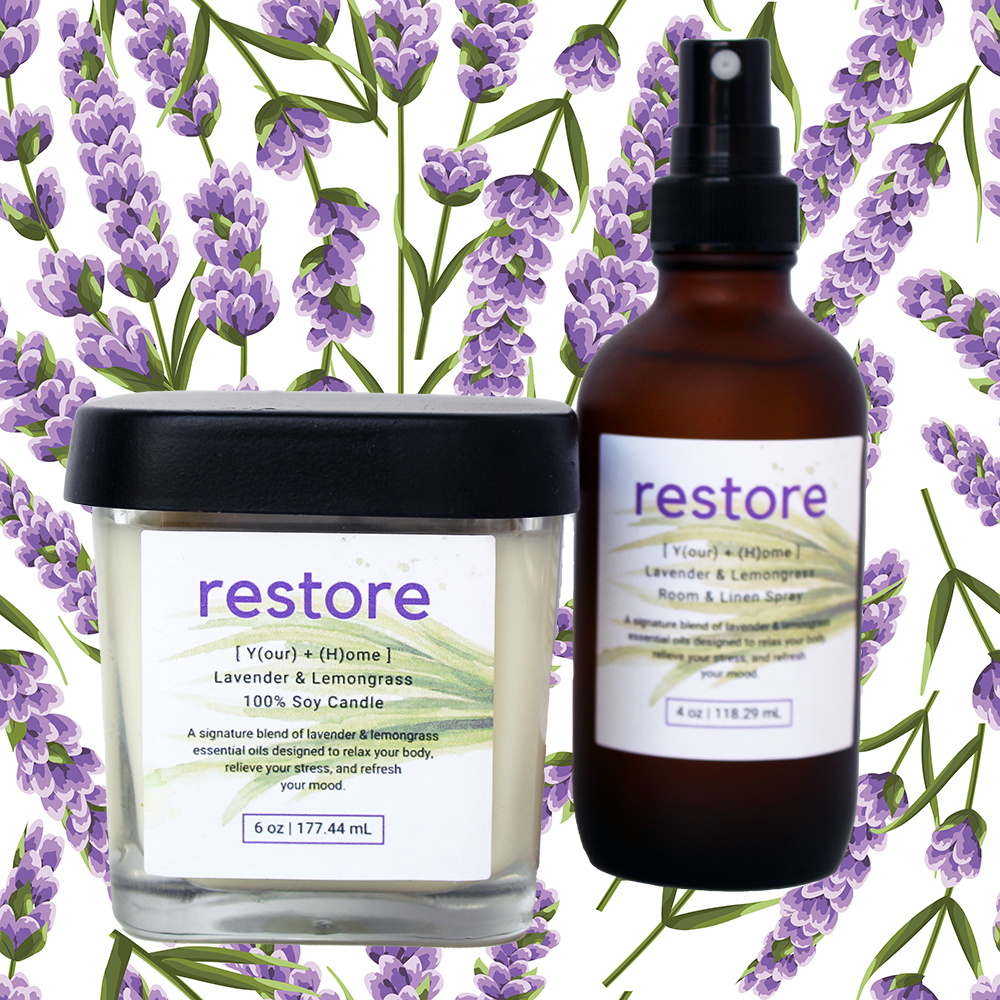 Restore Your Home Lavender & Lemongrass Scented Soy Candle and Room & Linen Spray