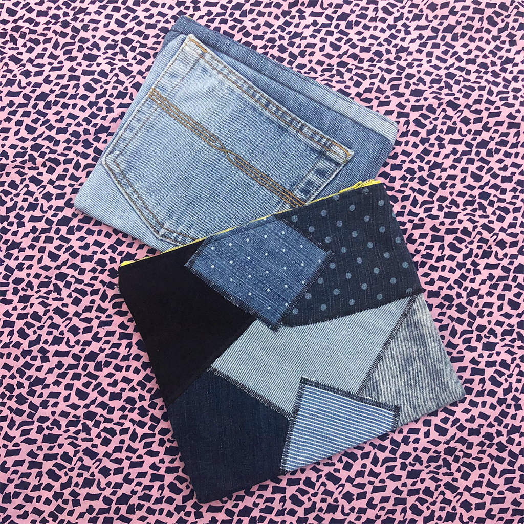 "The ""Bobbie"": Our Patchwork Denim Carry-All Pouch (Made from Re-purposed Denim)"