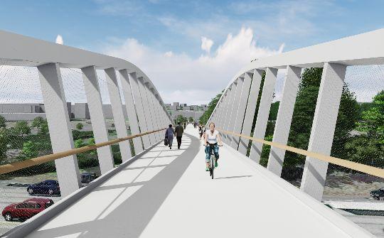 The user experience walking or biking across the bridge