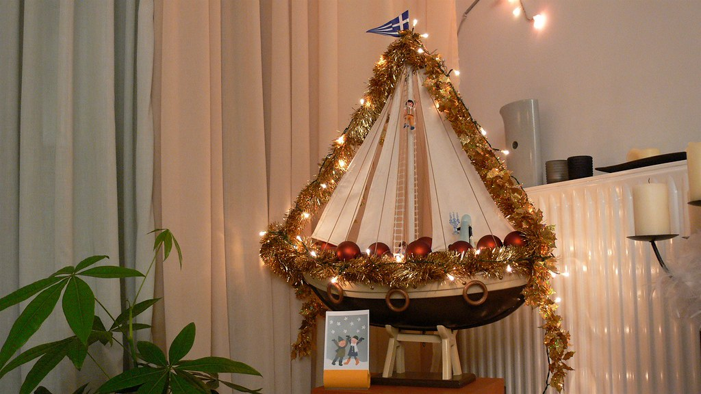 a decorated Greek Christmas boat