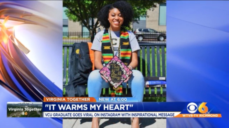Photo of Kiana Jackson on the CBS6 news.