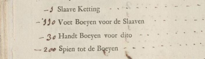 Vermelding van een ketting, voet- en handboeien en spijkers om de boeien te sluiten. Pagina uit de scheepsinventaris van het schip de Eenigheid uit 1761.