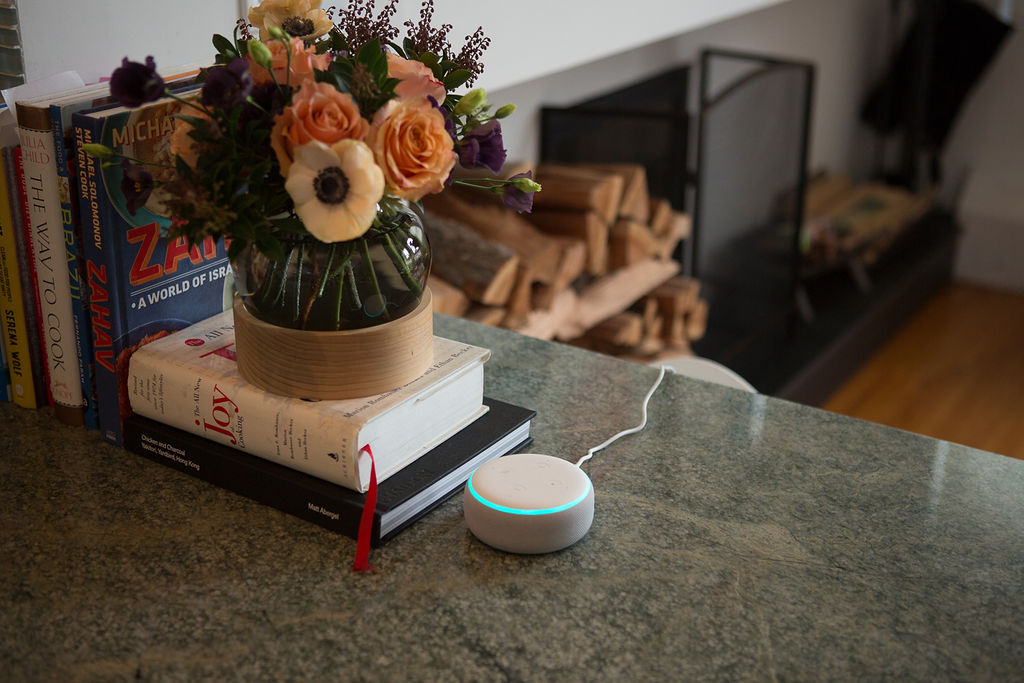 Echo Dot on a kitchen counter