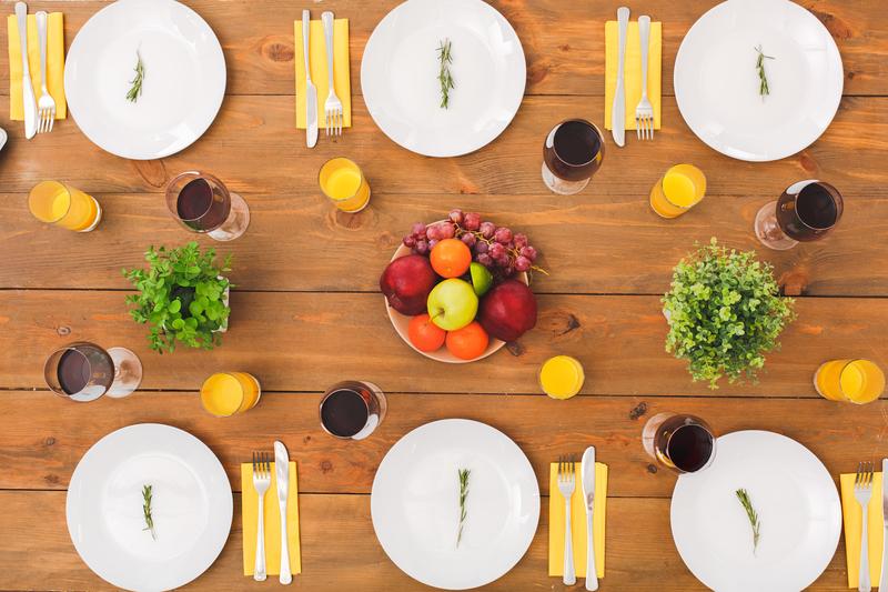Dinner table set for a family