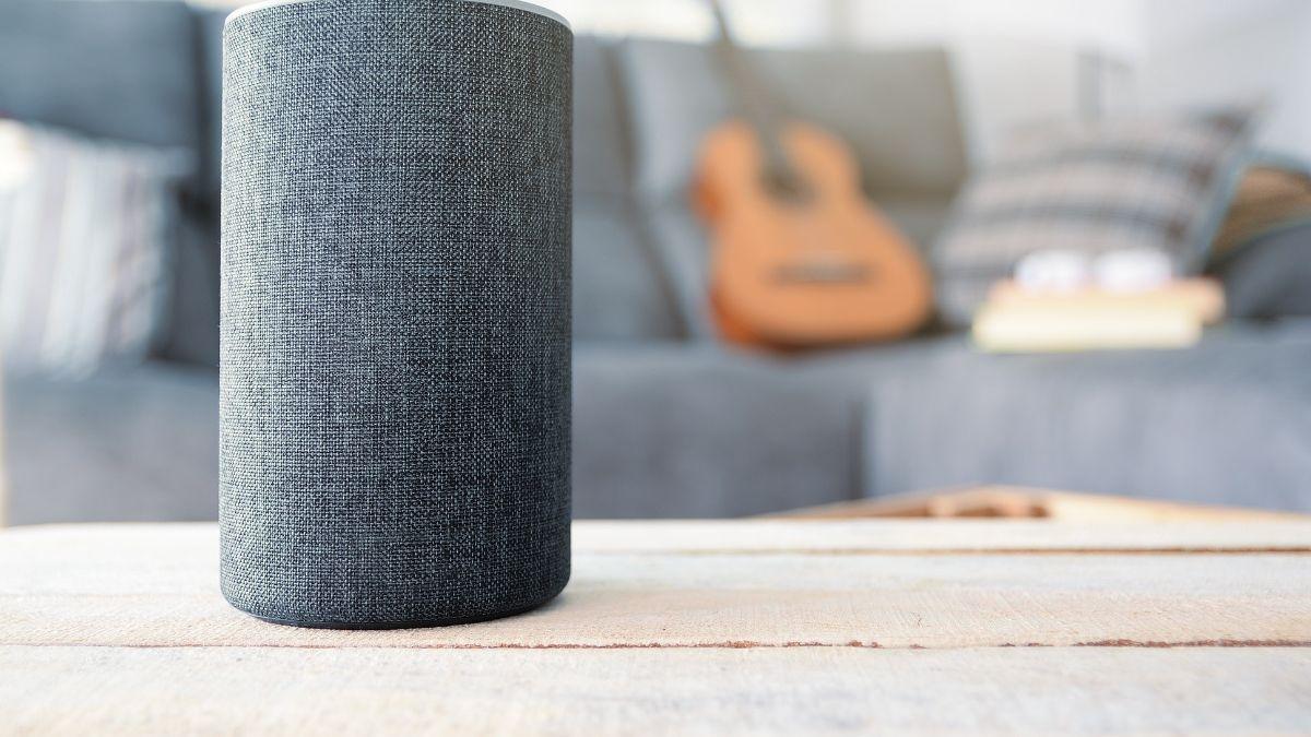 An Echo speaker on a table