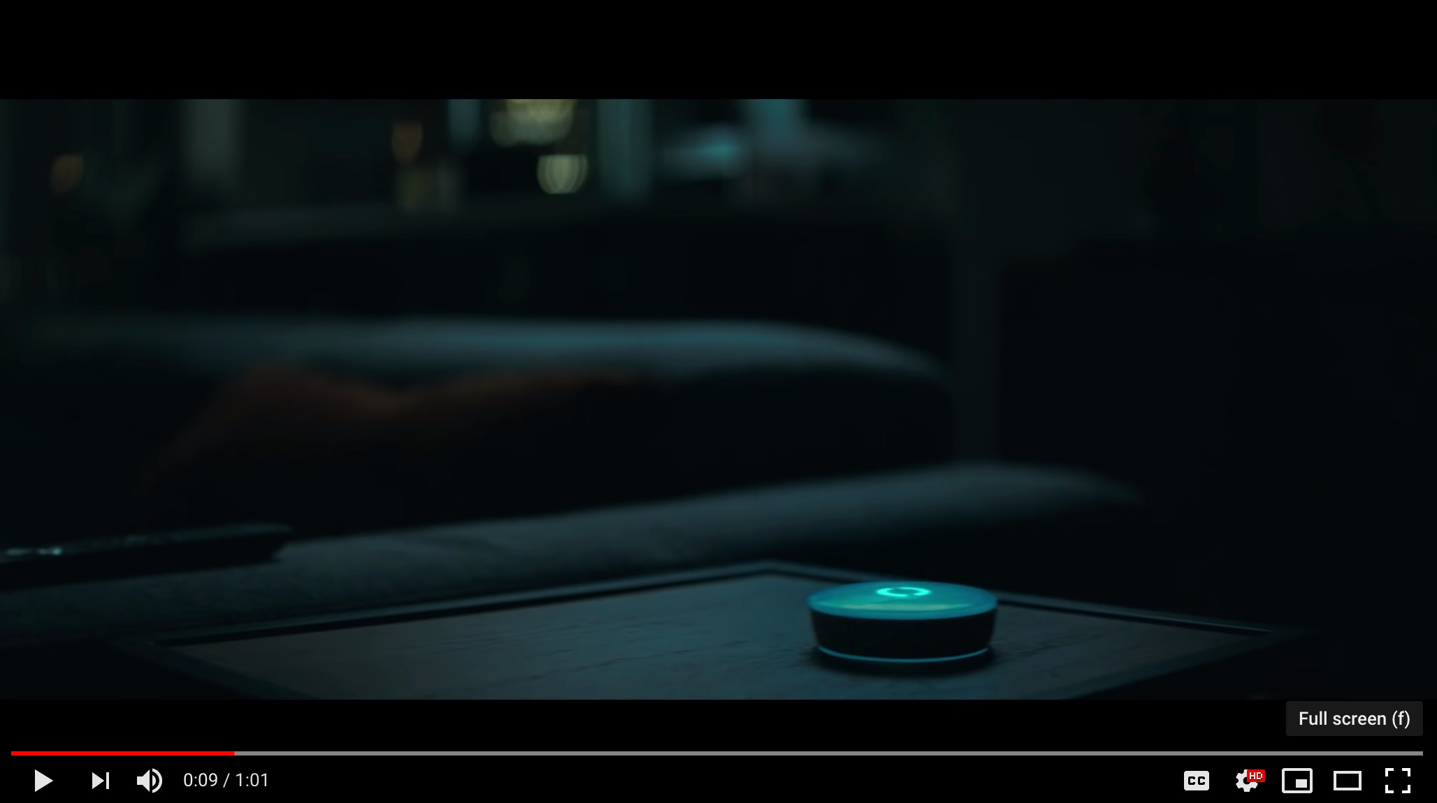 Still image from video of a device that looks like an Echo Dot