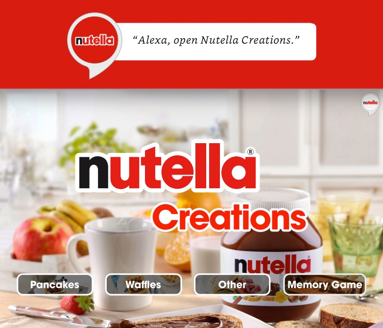 Nutella creations Alexa skill screenshot