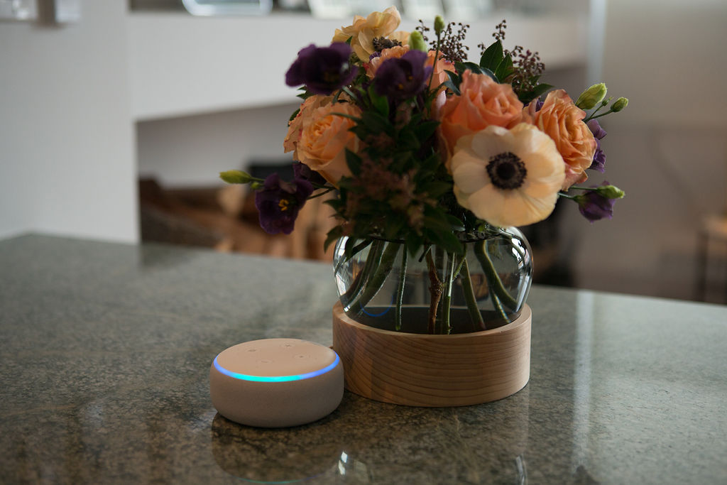 An Echo Dot on kitchen counter next to a vase of flowers