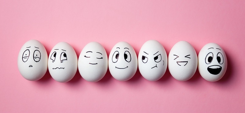 Eggs with fun faces drawn on