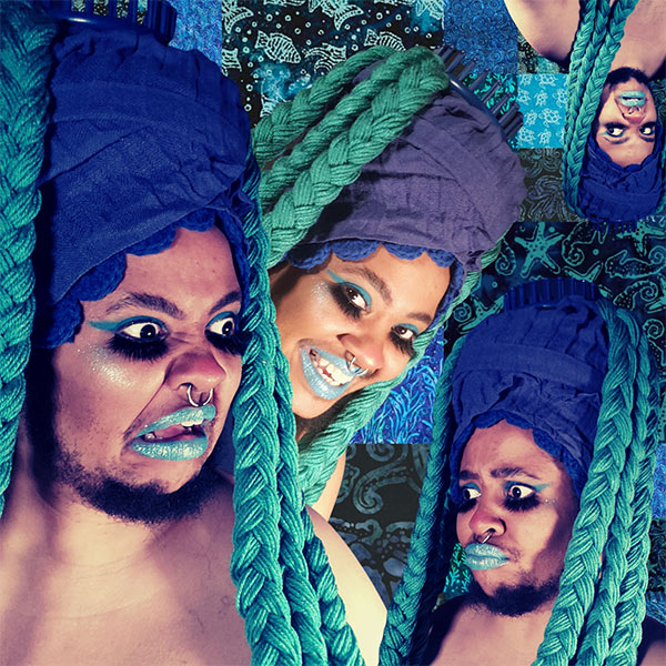 A digital collage by Wit López, with multiple photos of Wit with different expressions in bright green braids