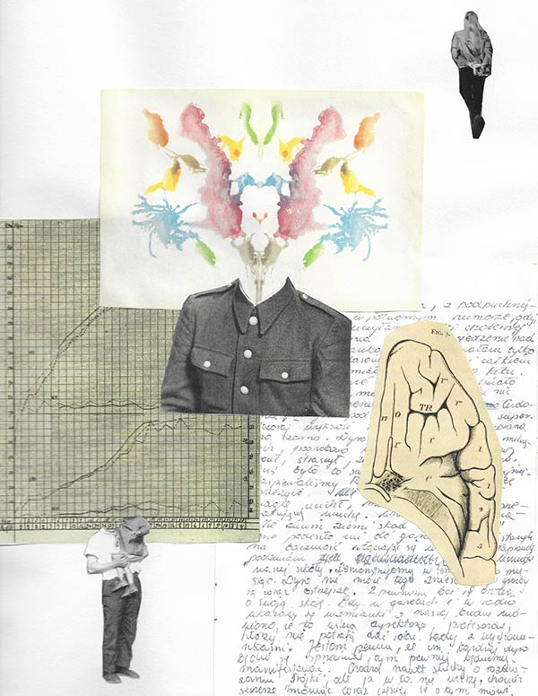 A collage by Veronique West with a colourful inkblot test blooming from a black-and-white military uniform, a partial diagram of the brain, a diary page and a graph, and figures in the top right and bottom left