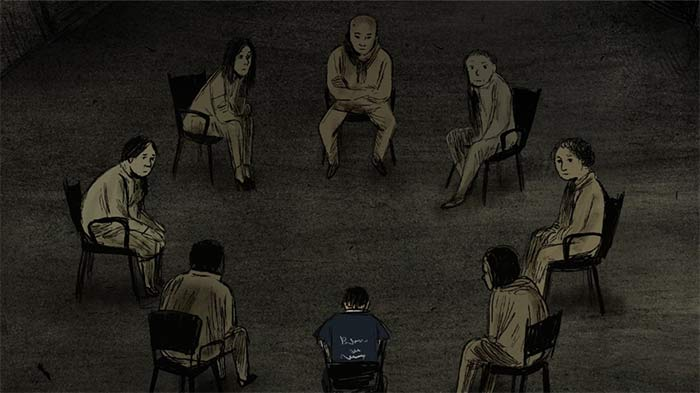 """Animation still from """"A Once and Future Peace"""" with eight people sitting in chairs in a circle"""