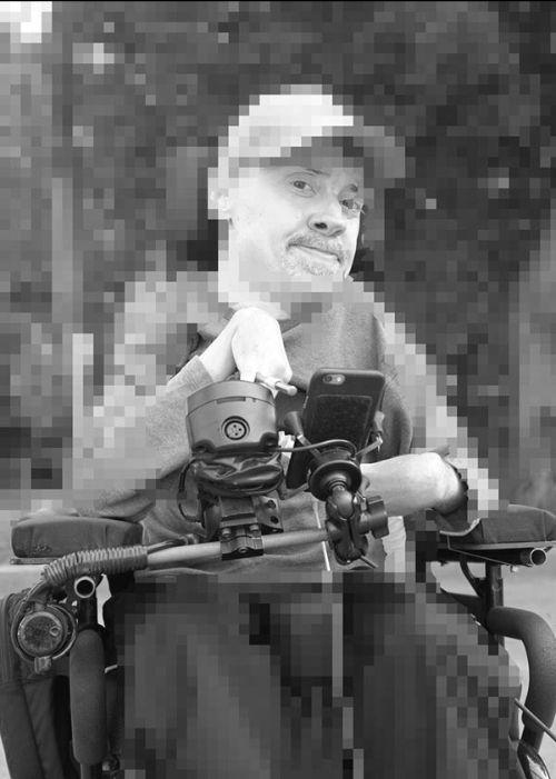A digitally manipulated, pixelated portrait of Chris Binkowski - photo by Nick Schofield/Chris Binkowski