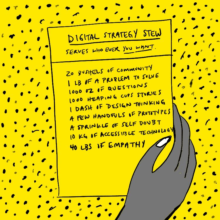 """Illustration of a hand holding a recipe for """"Digital Strategy Stew"""" against a yellow background with black polka dots"""