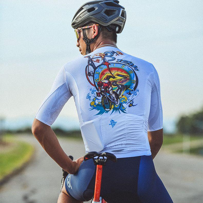 white cycling jersey