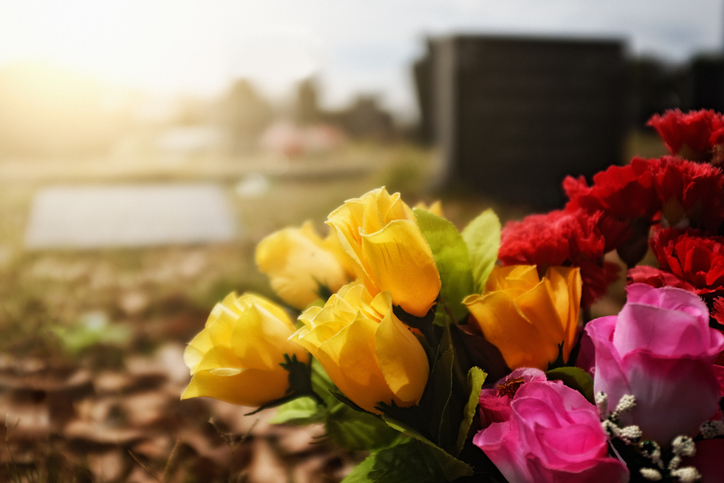 Flowers at a grave site.