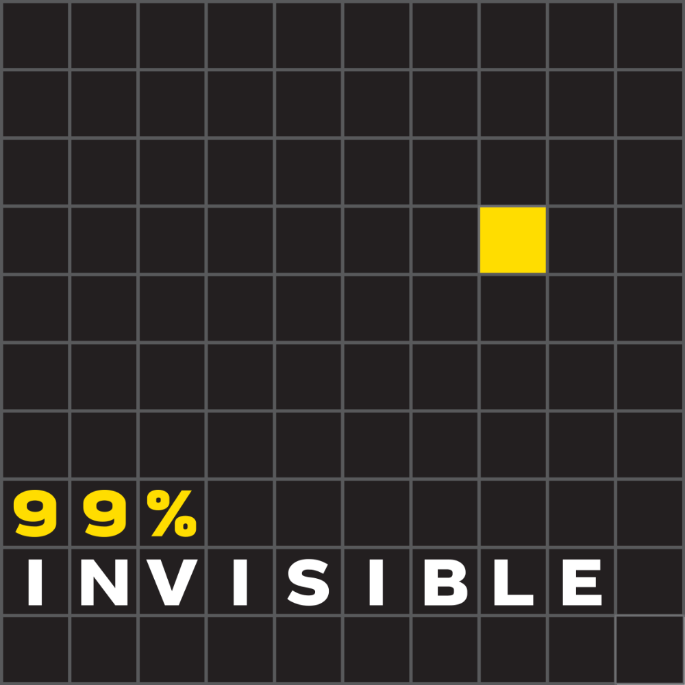 """A black square with gray gridlines. One square is yellow, and the words """"99% Invisible"""" are in yellow and white in squares on the bottom left."""