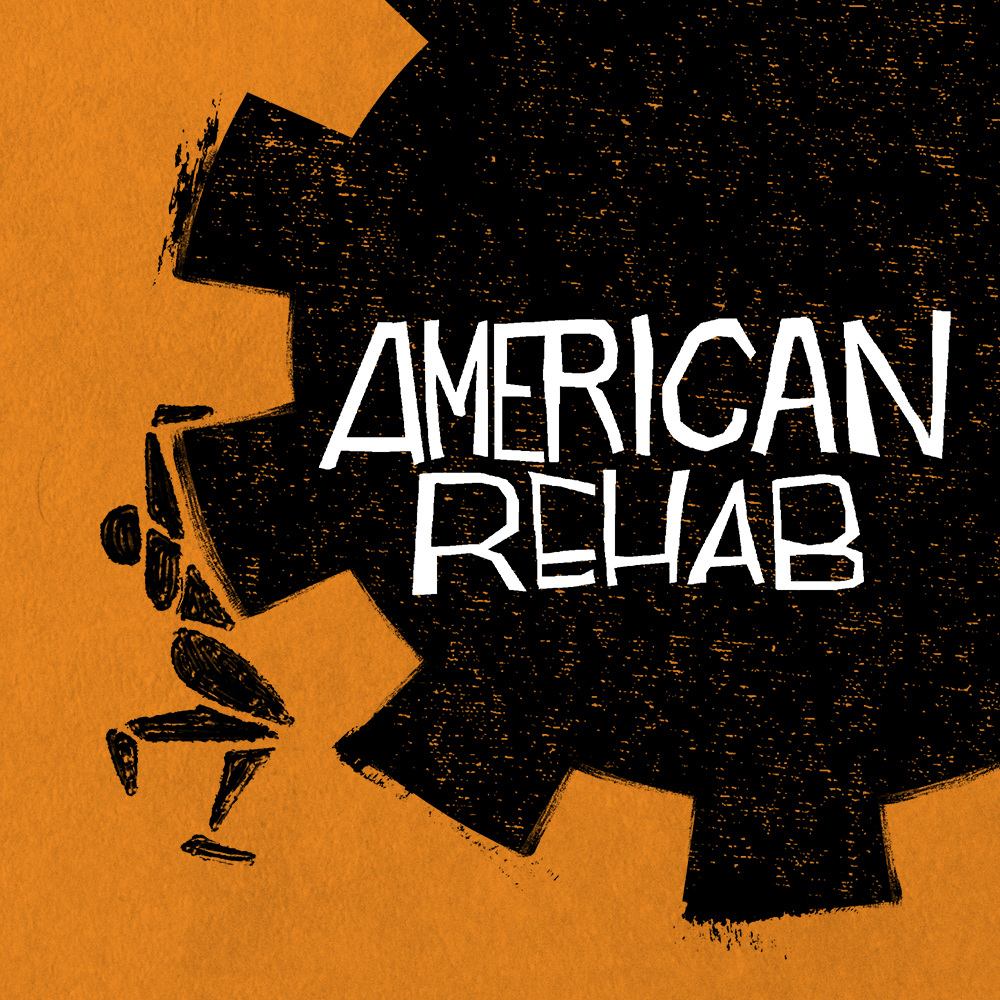 The orange, black, and white logo for the podcast series American Rehab.