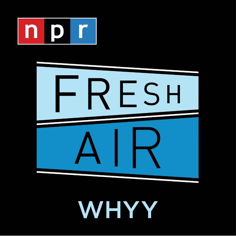 """The podcast logo for the show Fresh Air, a black square with the NPR logo in the top left corner. The words """"Fresh"""" and """"Air"""" are in black capital letters inside blue trapezoids. """"WHYY"""" is centered at the bottom of the square."""