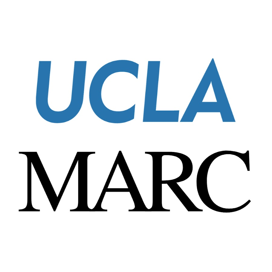 The logo for UCLA's Mindful Awareness Research Center, which features UCLA in blue sans serif letters, and MARC in black serif font.