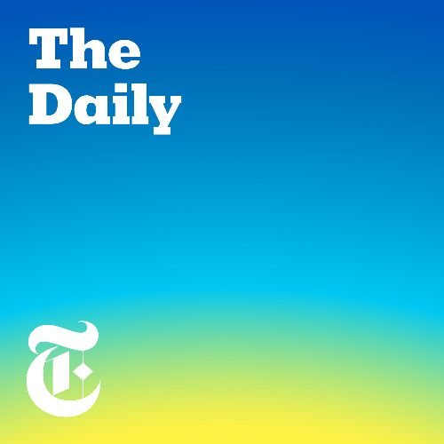 """The podcast logo for The Daily. A blue gradient fades into light green and yellow, """"The Daily"""" is in white, bold font in the top left corner, the Times' T is in white in the bottom left corner."""