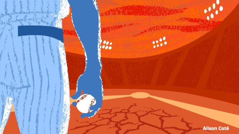A baseball player in blue looks down the diamond, which is reddish dirt with the cracked ground. The stands of the baseball stadium and the sky are also red and dark orange, and the stands appear to be empty.