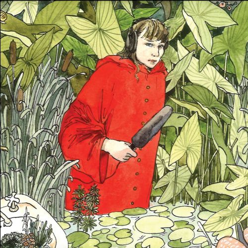 A drawing of a white, female radio producer in a red coat wearing black headphones and holding a black microphone in a plant filled background.