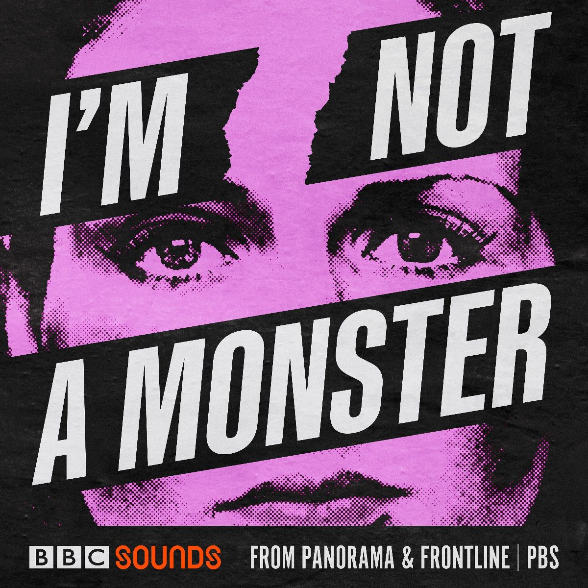 """The podcast art for the show """"I'm Not A Monster,"""" featuring a black background and the face of a woman in purple. The word """"I'm"""" is in white text on a black background and """"Not"""" is as well, both are over each eye. """"A Monster"""" covers her nose, and below her mouth is the BBC Sounds logo and the words """"from Panorama & Frontline 
