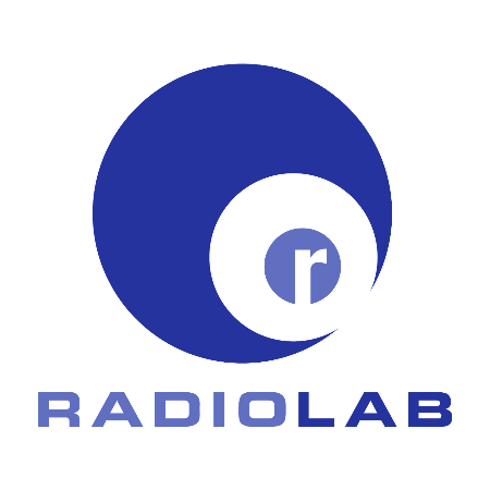 """The Radiolab podcast art, featuring the letter """"r"""" in white surrounded by a light blue circle, which is ringed by a slightly larger white circle, and then a slightly larger dark blue circle. The word """"Radiolab"""" is below the circle with """"Radio"""" in the light blue color, and """"Lab"""" in the dark blue color."""