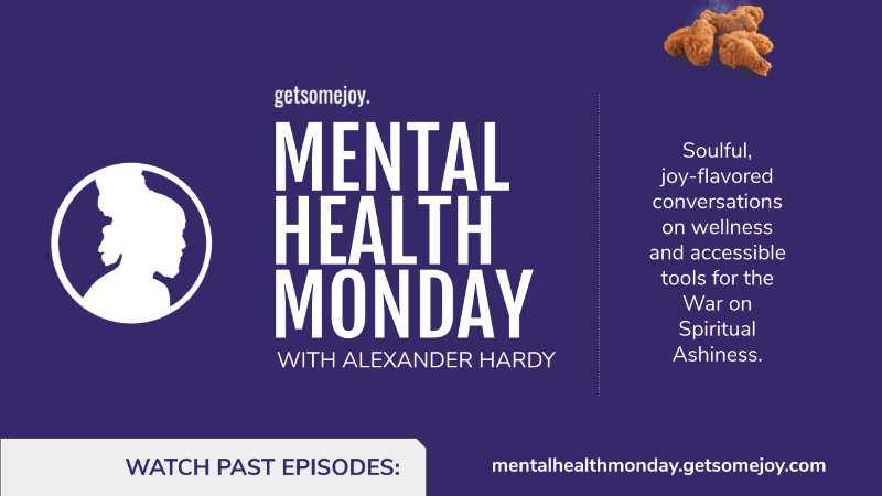a purple  flyer for Mental Health Monday
