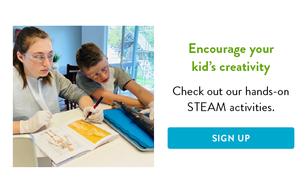 Young students at home performing STEAM activities.