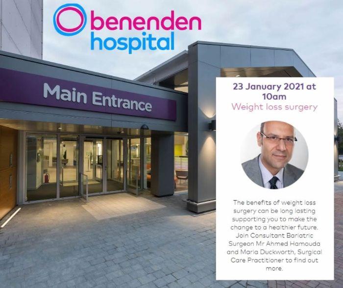 Free Weight loss surgery Webinar Benenden Hospital